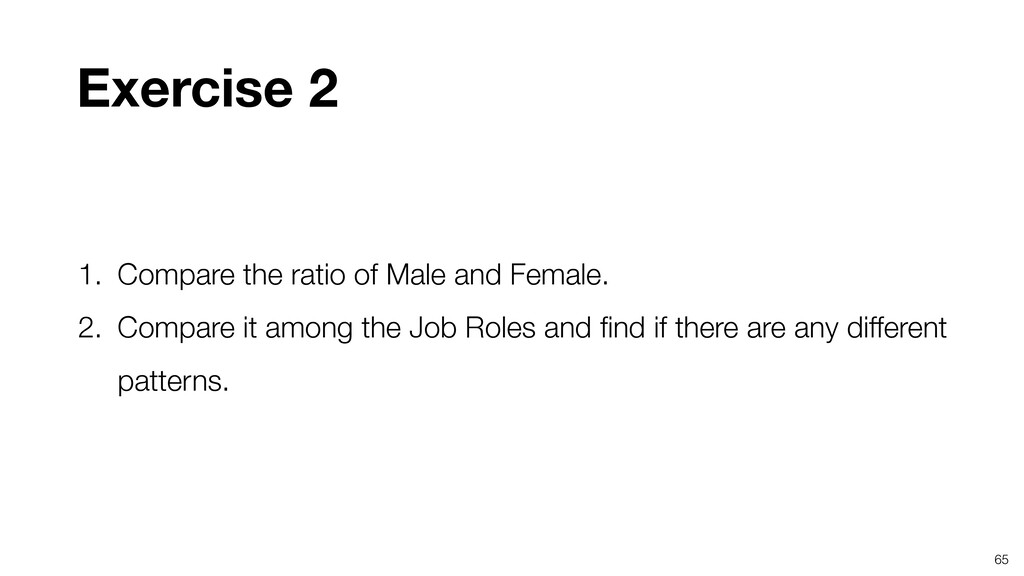 65 Exercise 2 1. Compare the ratio of Male and ...