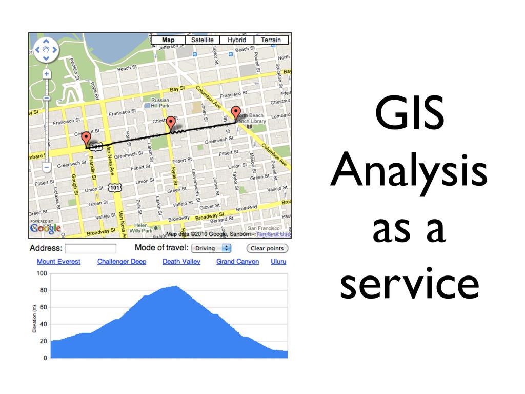 GIS Analysis as a service