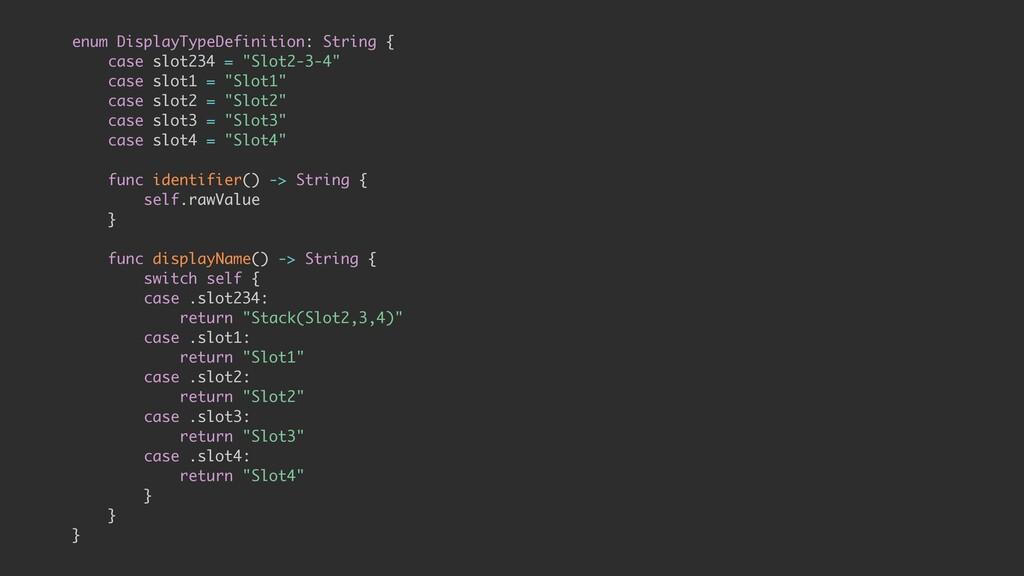 enum DisplayTypeDefinition: String { case slot2...