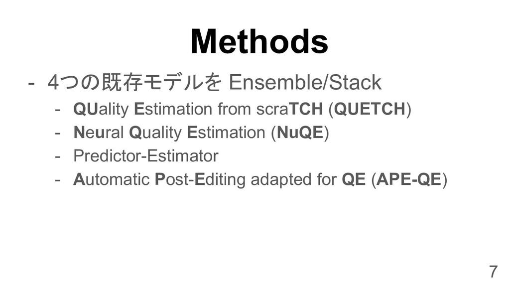Methods - 4つの既存モデルを Ensemble/Stack - QUality Es...
