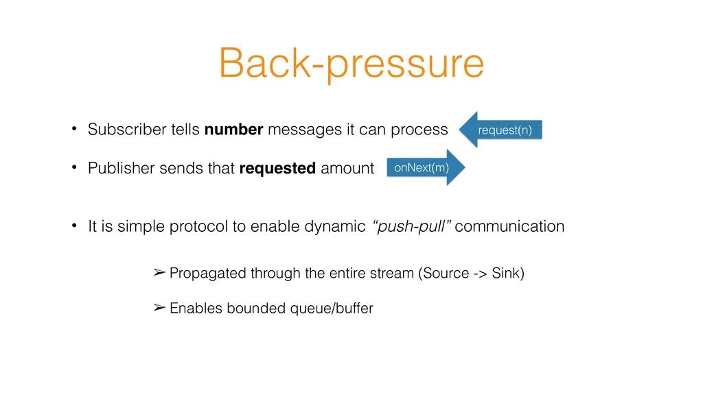 Back-pressure • Subscriber tells number message...