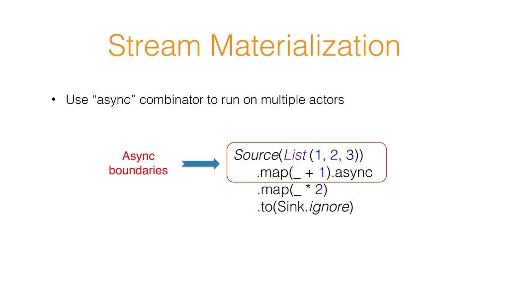"Stream Materialization • Use ""async"" combinator..."