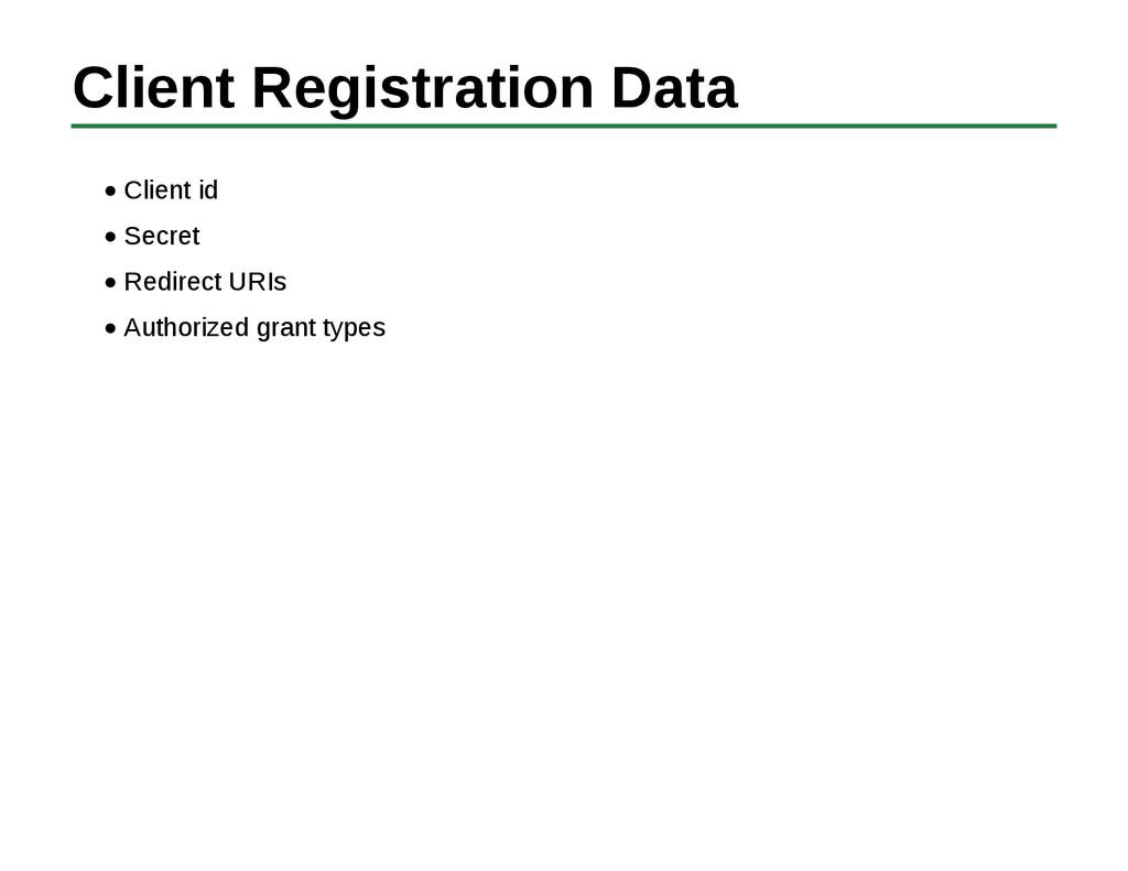 Client Registration Data Client id Secret Redir...