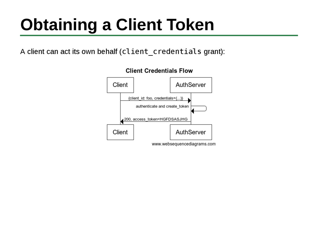 Obtaining a Client Token A client can act its o...