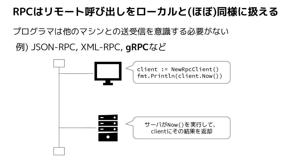 RPCはリモート呼び出しをローカルと(ほぼ)同様に扱える プログラマは他のマシンとの送受信を意...