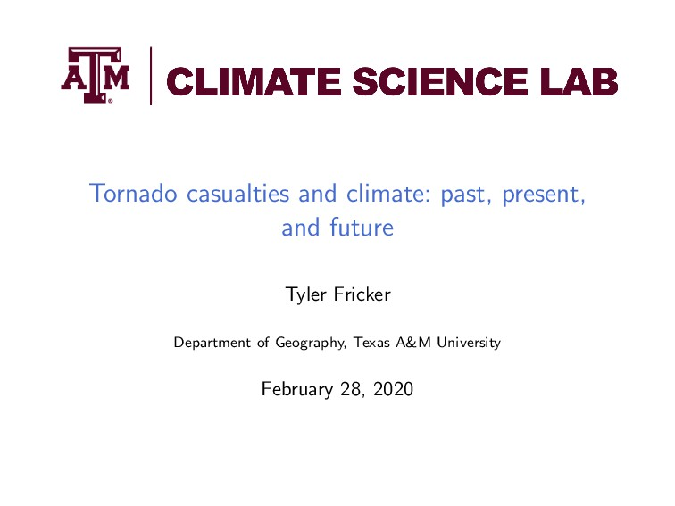 Tornado casualties and climate: past, present, ...