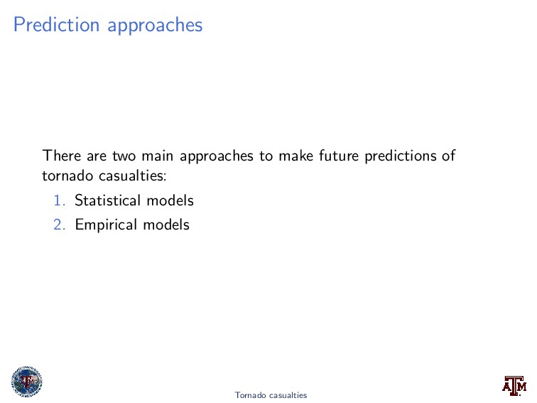 Prediction approaches There are two main approa...
