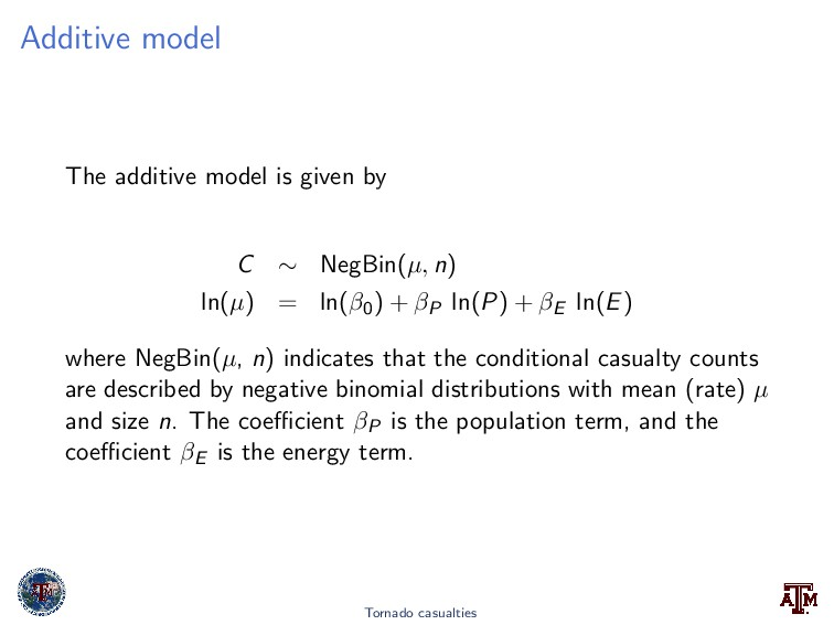 Additive model The additive model is given by C...