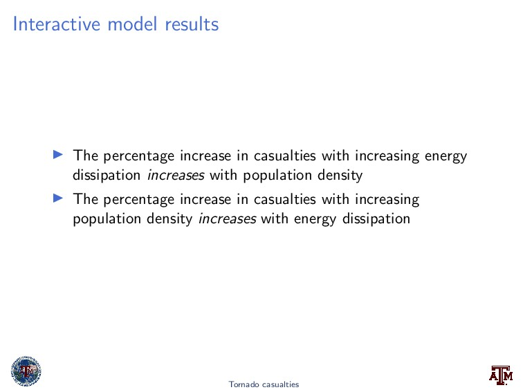 Interactive model results The percentage increa...