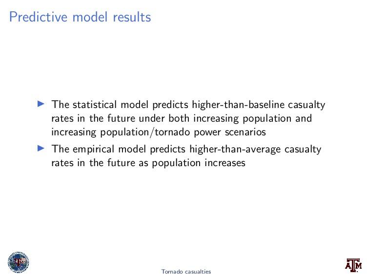 Predictive model results The statistical model ...