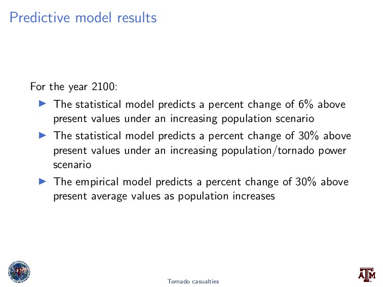 Predictive model results For the year 2100: The...