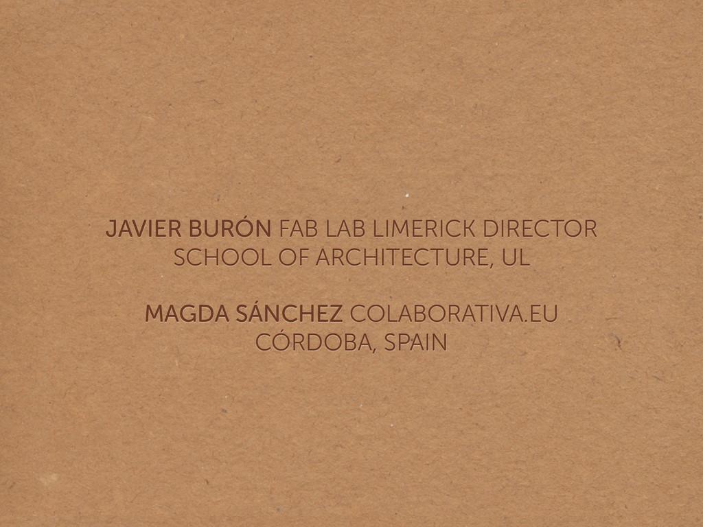 JAVIER BURÓN FAB LAB LIMERICK DIRECTOR SCHOOL ...