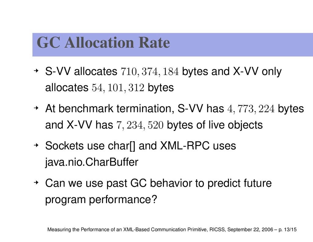 GC Allocation Rate S-VV allocates 710, 374, 184...