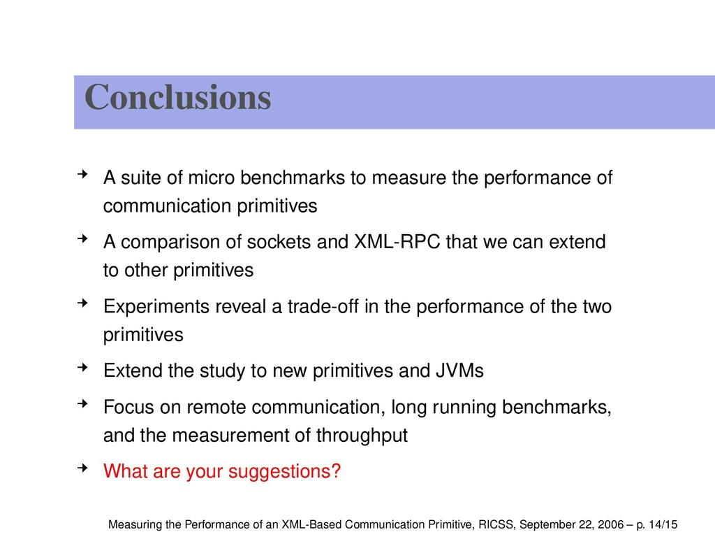 Conclusions A suite of micro benchmarks to meas...