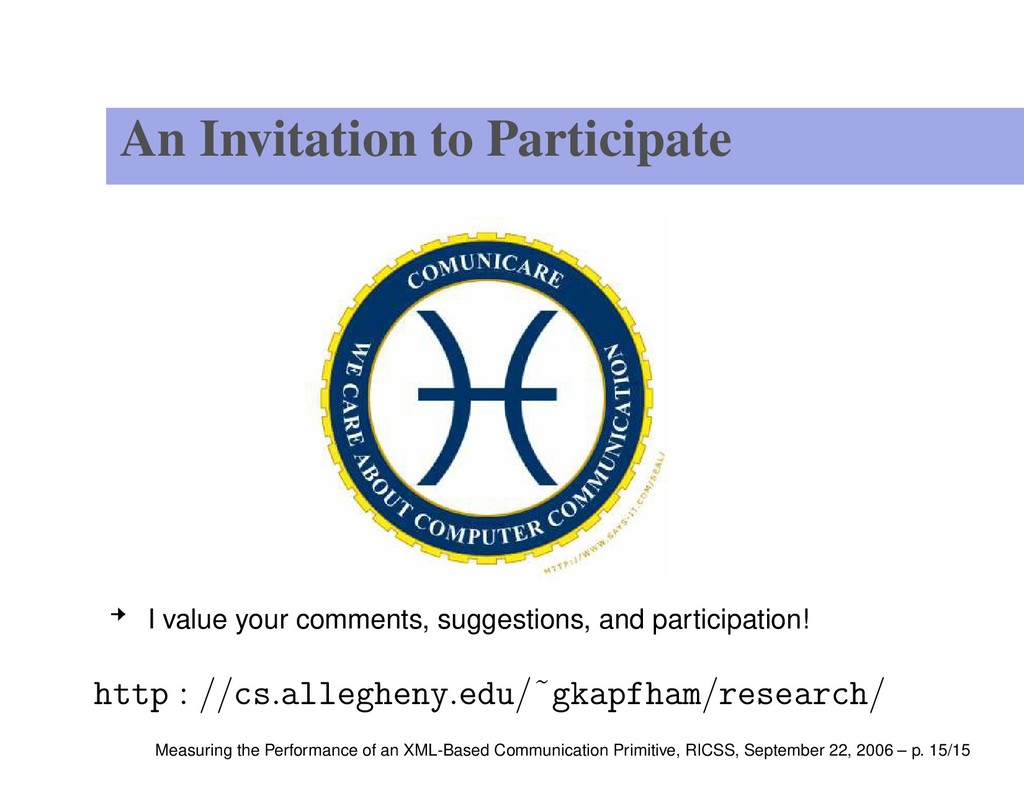 An Invitation to Participate I value your comme...
