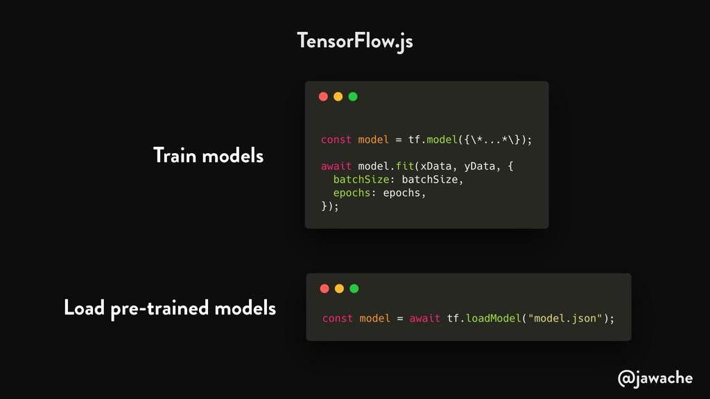 TensorFlow.js Train models Load pre-trained mod...