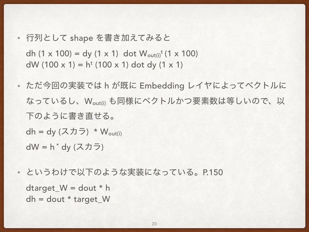 • ߦྻͱͯ͠ shape Λॻ͖Ճ͑ͯΈΔͱ dh (1 x 100) = dy (1 x...
