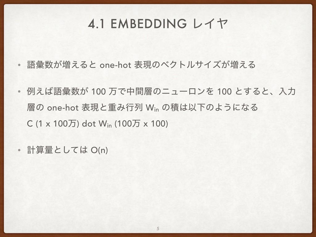 4.1 EMBEDDING ϨΠϠ • ޠኮ͕૿͑Δͱ one-hot දݱͷϕΫτϧαΠζ...