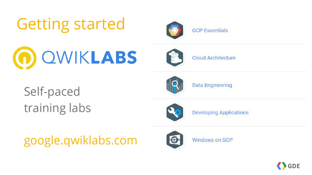 GDE Self-paced training labs google.qwiklabs.co...