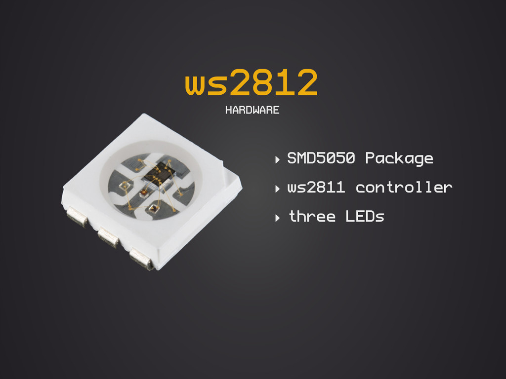 ws2812 HARDWARE ‣ SMD5050 Package ‣ ws2811 cont...