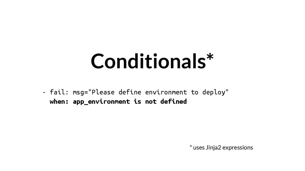 "- fail: msg=""Please define environment to deplo..."