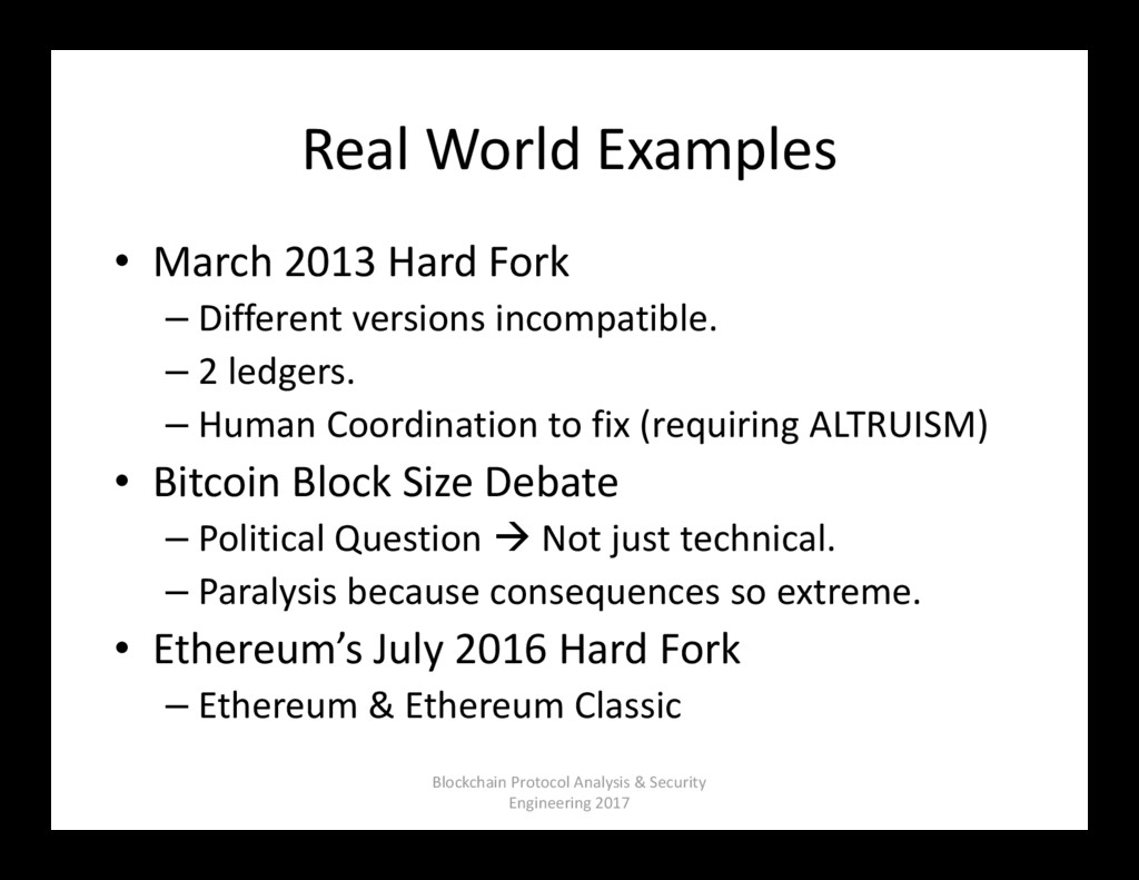 Real World Examples • March 2013 Hard Fork – Di...