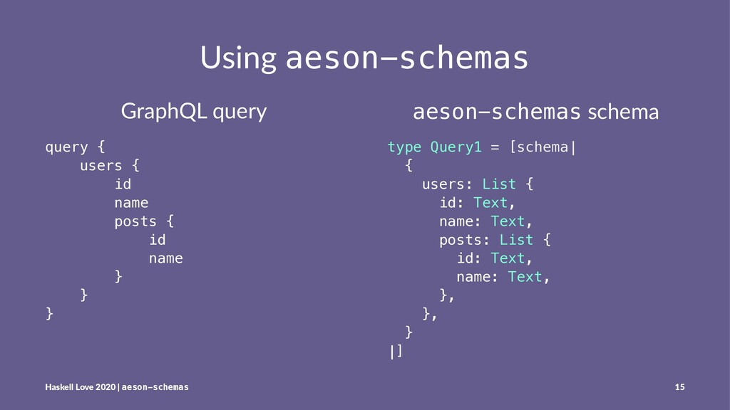 Using aeson-schemas GraphQL query query { users...