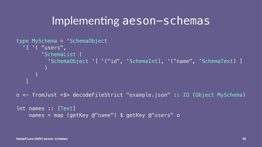 Implemen'ng aeson-schemas type MySchema = 'Sche...