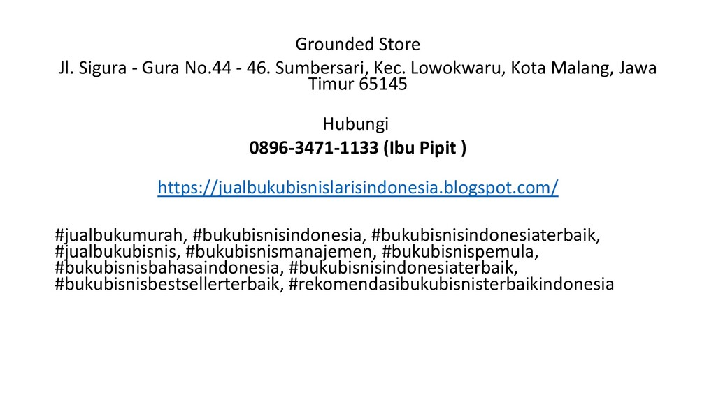 Grounded Store Jl. Sigura - Gura No.44 - 46. Su...