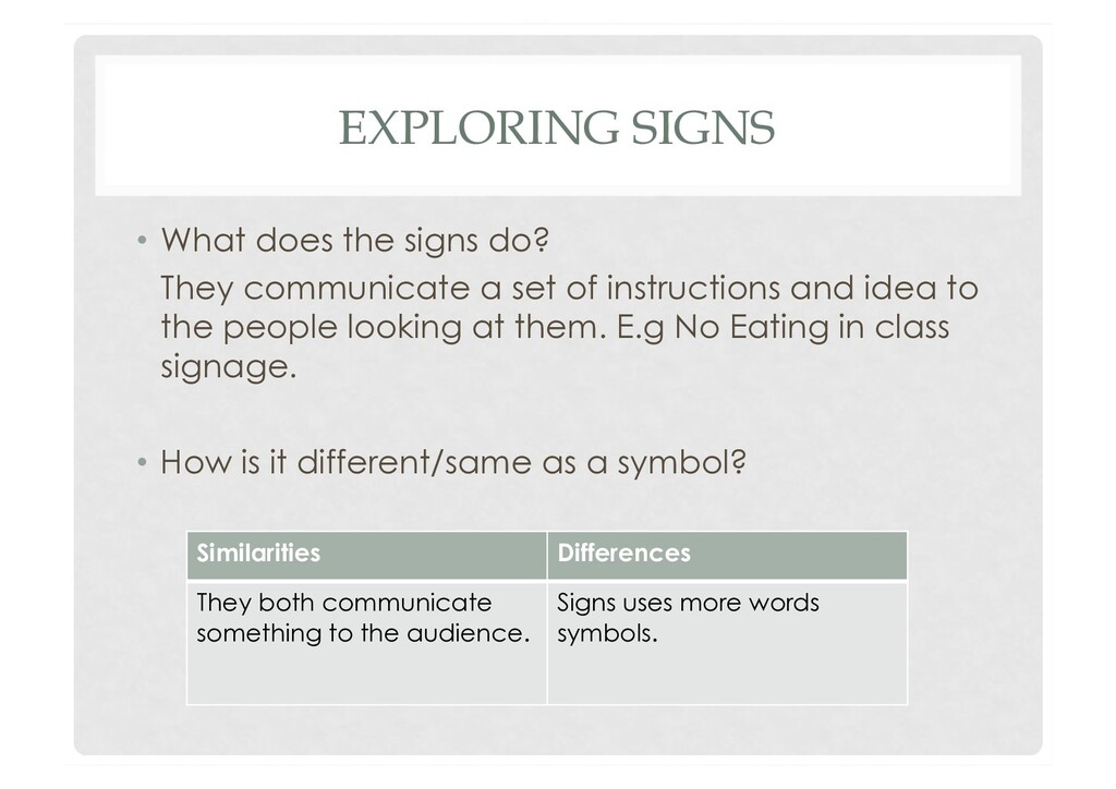 EXPLORING SIGNS •  What does the signs do? They...