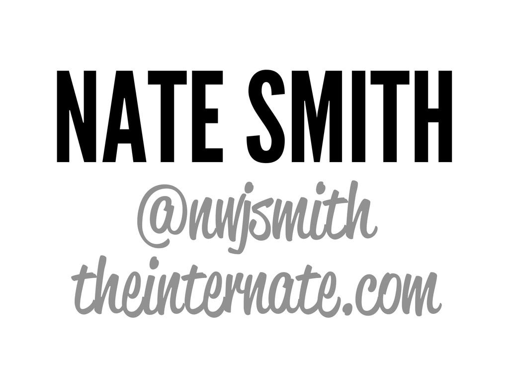 NATE SMITH @nwjsmith theinternate.com