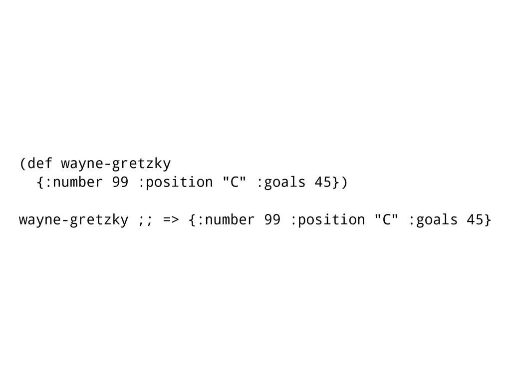 """(def wayne-gretzky {:number 99 :position """"C"""" :g..."""