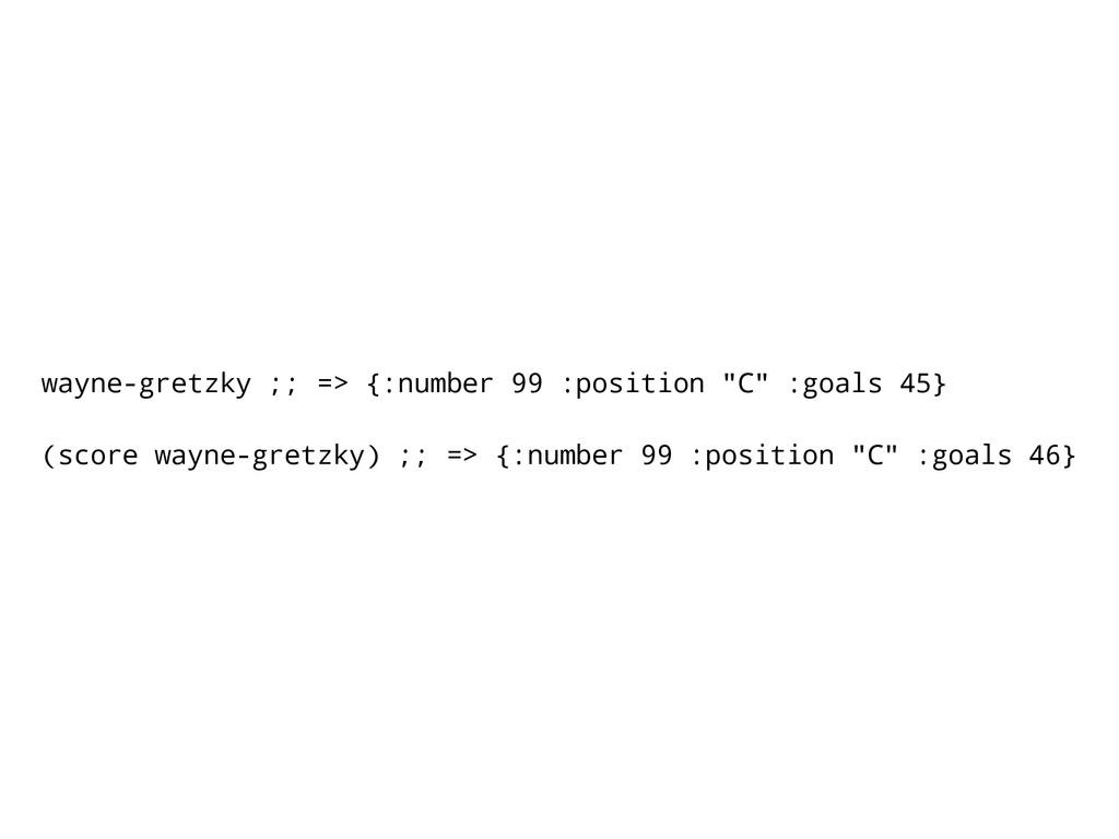 """wayne-gretzky ;; => {:number 99 :position """"C"""" :..."""