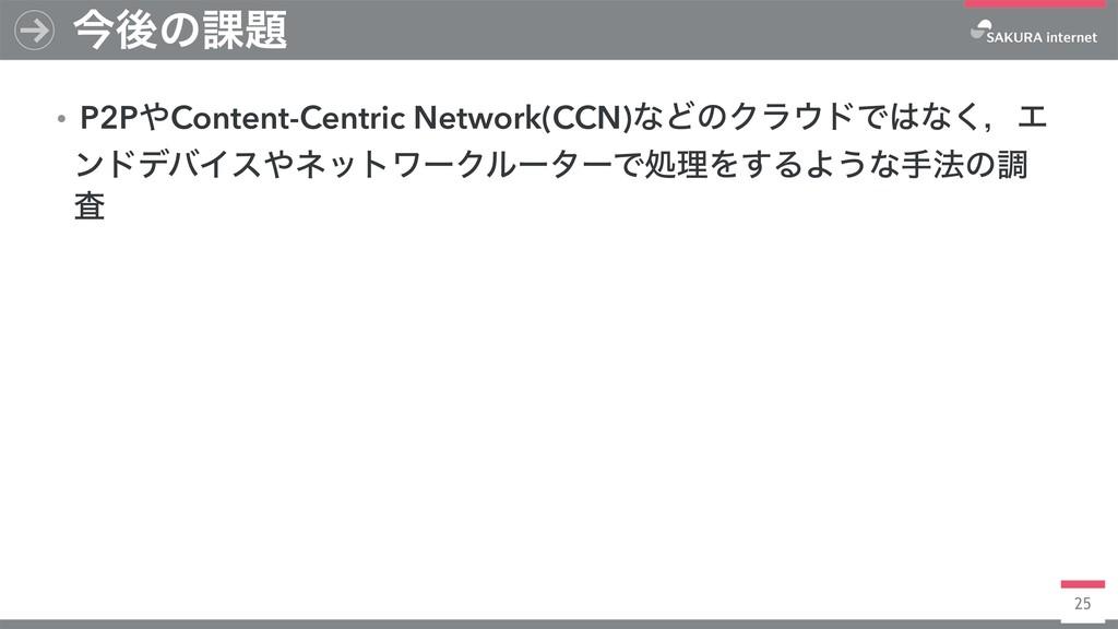 25 ࠓޙͷ՝ ɾP2PContent-Centric Network(CCN)ͳͲͷΫϥ...