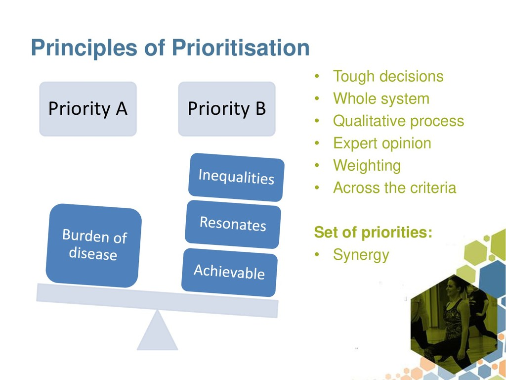 Principles of Prioritisation • Tough decisions ...