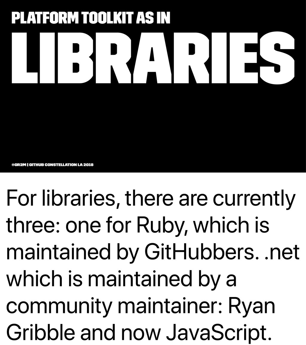 For libraries, there are currently three: one f...