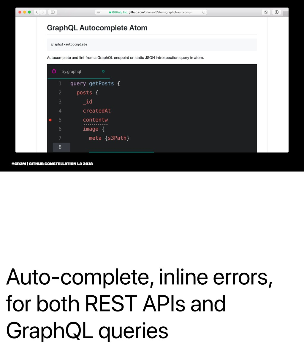 Auto-complete, inline errors, for both REST API...