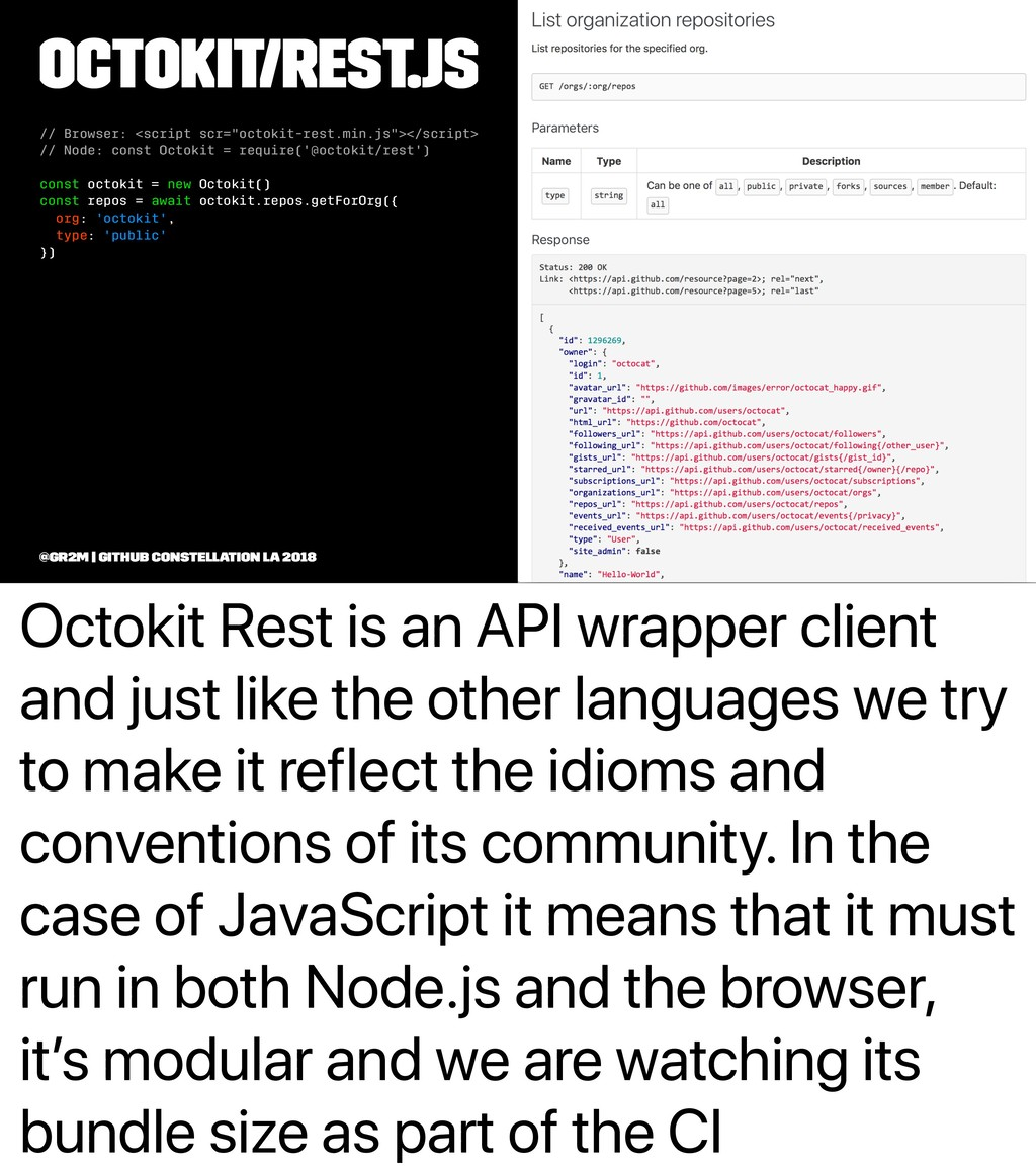 Octokit Rest is an API wrapper client and just ...