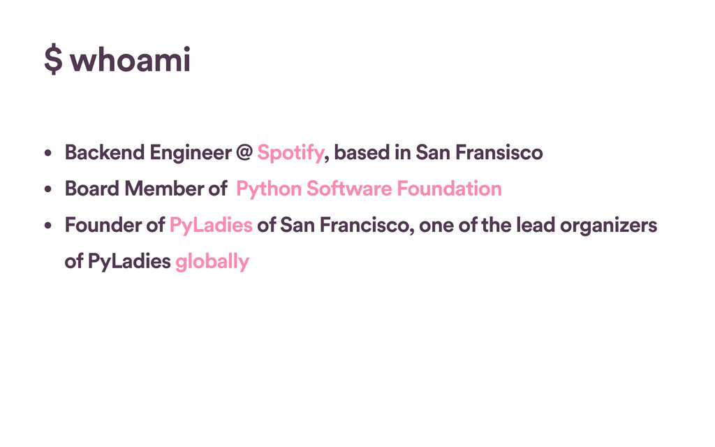 $ whoami • Backend Engineer @ Spotify, based in...