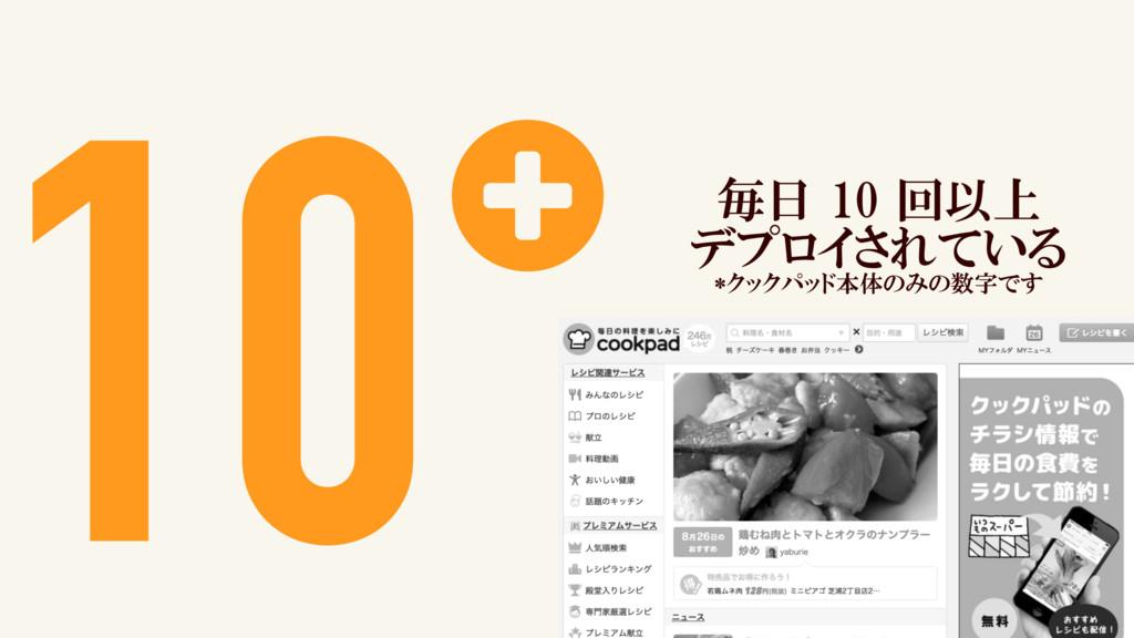 10+ 毎日 10 回以上 デプロイされている *クックパッド本体のみの数字です