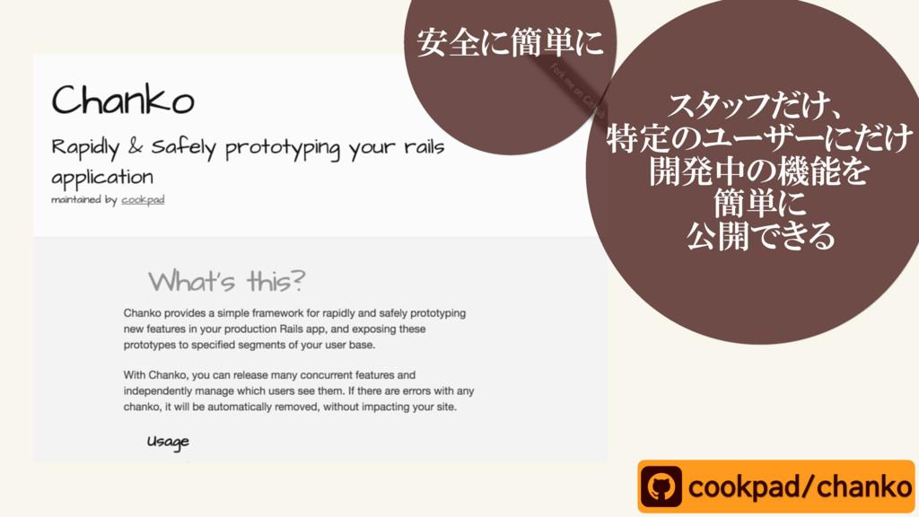スタッフだけ、 特定のユーザーにだけ 開発中の機能を 簡単に 公開できる cookpad/ch...