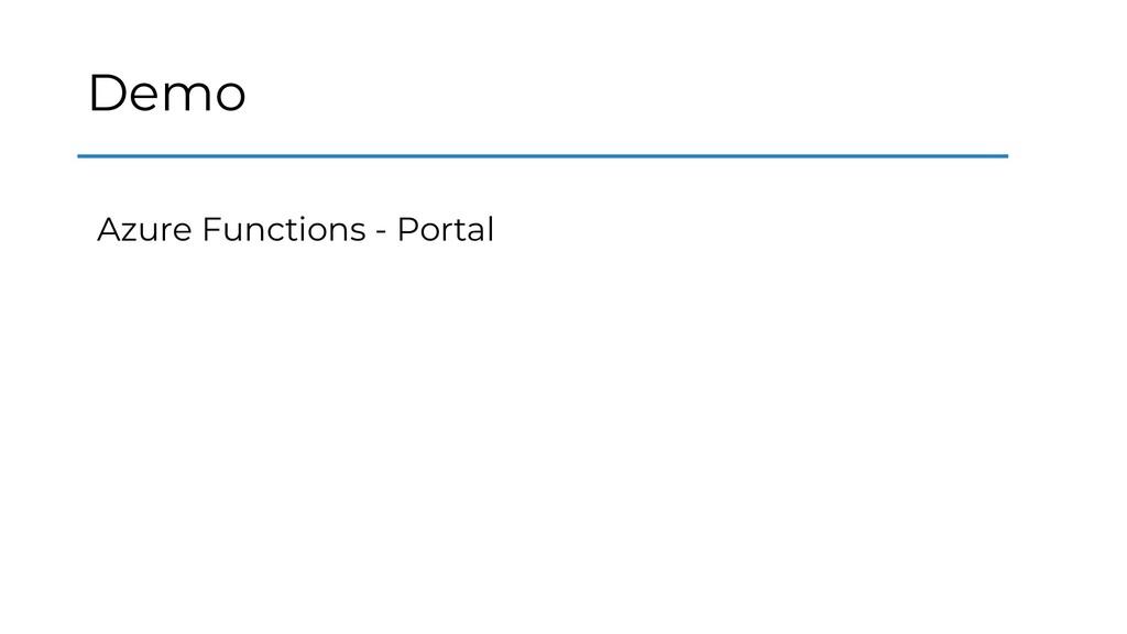 Demo Azure Functions - Portal