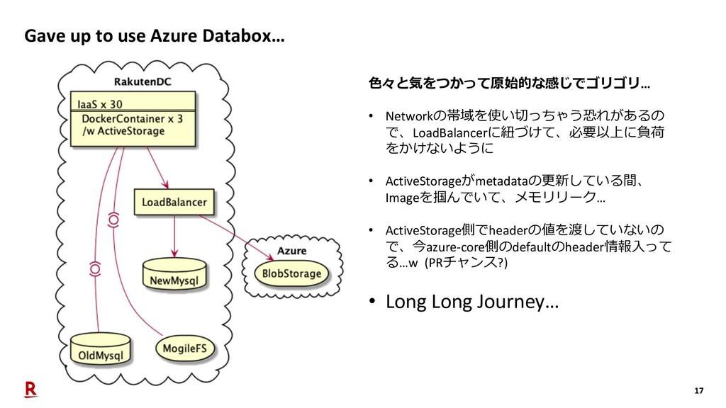 17 Gave up to use Azure Databox… ⾊々と気をつかって原始的な感...