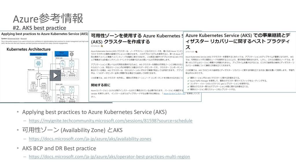 Azure参考情報 #2. AKS best practice • Applying best...