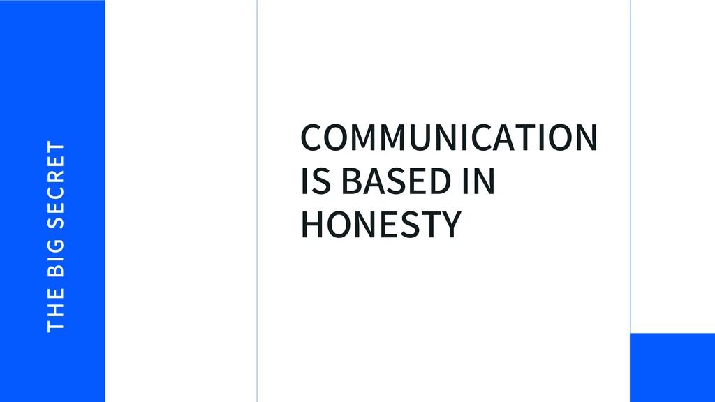 THE BIG SECRET COMMUNICATION IS BASED IN HONESTY