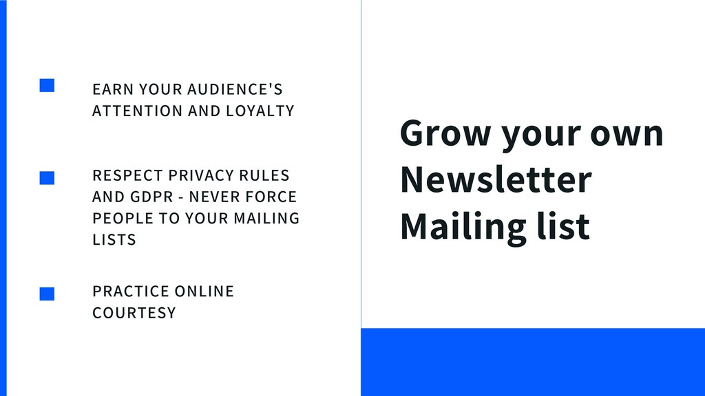 Grow your own Newsletter Mailing list EARN YOUR...