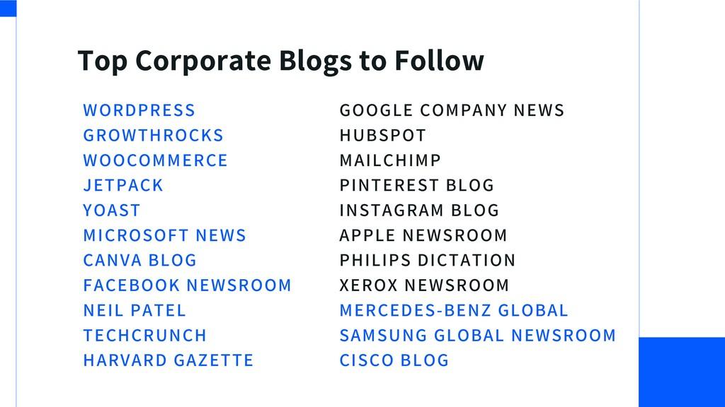 Top Corporate Blogs to Follow WORDPRESS GROWTHR...
