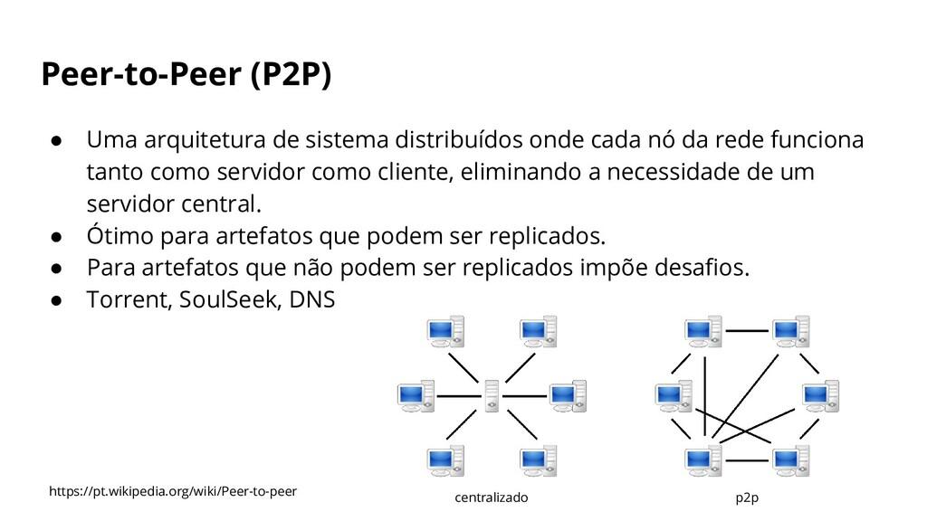 Peer-to-Peer (P2P) ● Uma arquitetura de sistema...
