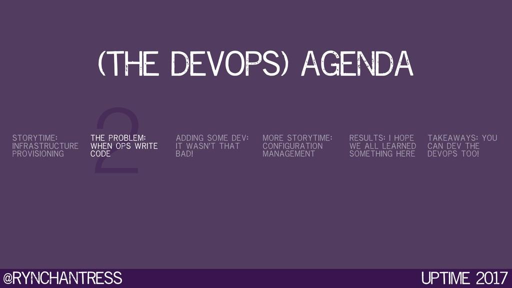 @rynchantress 2 Uptime 2017 (the devops) agenda...