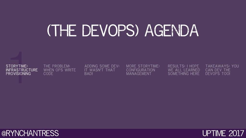 @rynchantress 1 Uptime 2017 (the devops) agenda...